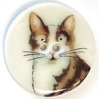 "Brown Tabby, White Chest Porcelain Cat Button 1-1/8"" Kitty"
