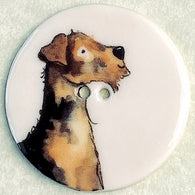 Terrier Dog Button Large Porcelain 1-1/2""