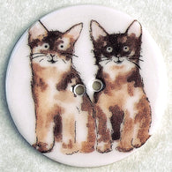 Two Cats Porcelain Button Larger Size 1-1/2""