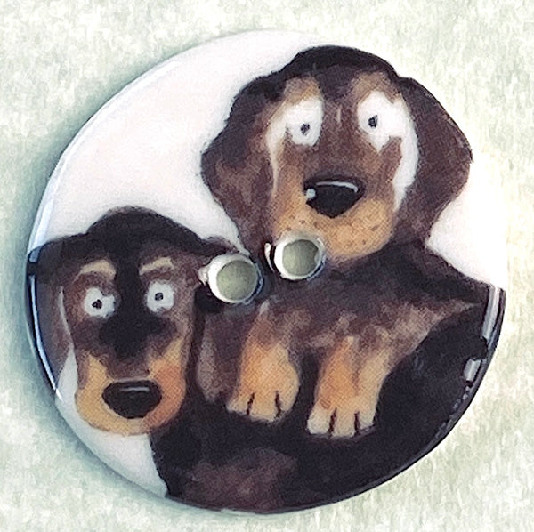 Two Dachsunds Porcelain Handmade Button 1-1/8""