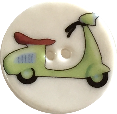 "Vespa Scooter Button - Porcelain 1- 1/8"" diameter"