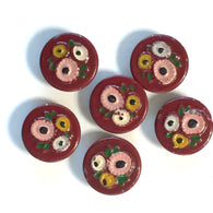 "Vintage Dark Red Sweetie Pies, 3/4"", Pack of Six"