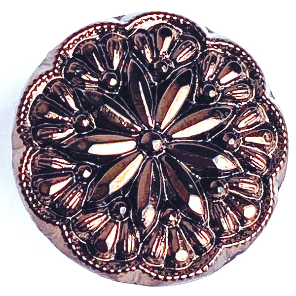 "Copper Glass Iridescent Starflower Button, 1/2"" or 11/16"""