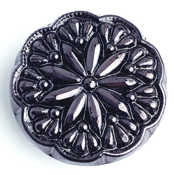 "Purple German Glass Starflower Button, 1/2"" or 11/16"""