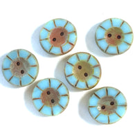 "Vintage Blue & Rust Wheel-Flower Glass Buttons, 9/16"", Pack of Six"