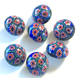 "Vintage Blue Millefiore Flowers Mushroom Shape Glass Buttons 5/8"", Pack of Seven"