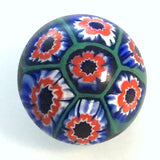 vintage button blue millefiori round dome shape red