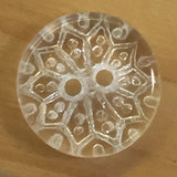 "Clear Snowflake Vintage Glass Buttons, 14mm /  9/16"" Pack of TEN"
