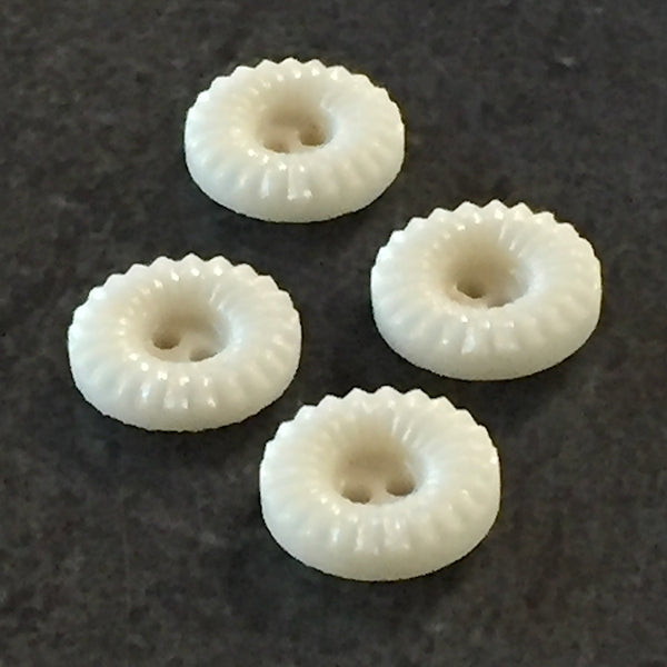 "Vintage Vanilla Donuts Tiny Glass Buttons, 10mm / 3/8"" Pack of NINE"