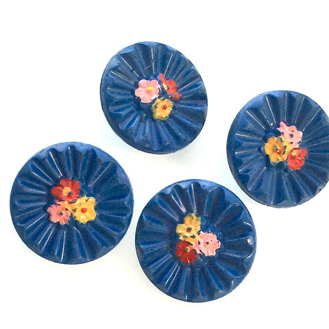"Vintage Navy Blue Pleated Glass and Handpainted Flowers 3/4"" Pack of 6"
