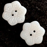 "White Vintage Etched Flower-Shape Milk Glass Buttons, 3/4"" Pack of 6"
