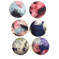 "Felt-Covered Large Buttons, Set of Six Abstract Designs  1-1/4""  #FC-23"