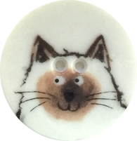 Siamese Cat Button - Porcelain 1-1/8""