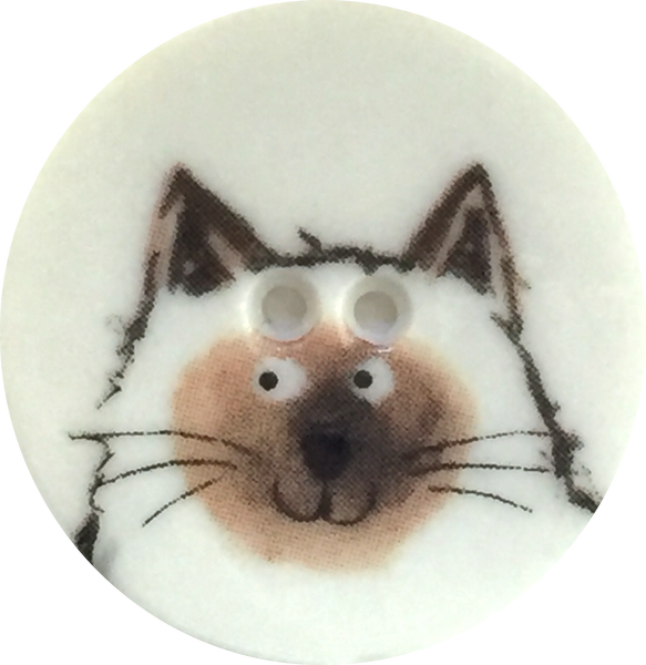 Siamese Cat Button - Porcelain
