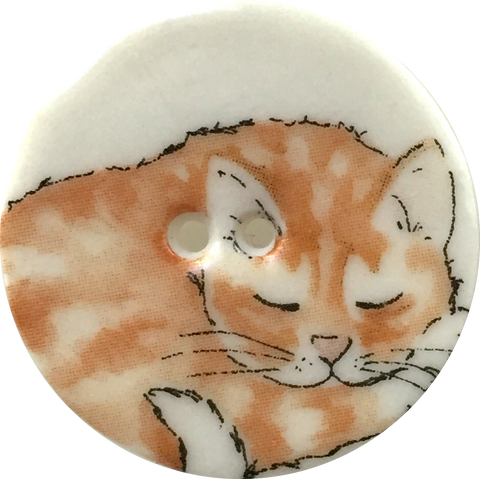 Orange Tabby One, Cat Sleeping Porcelain Button, 1-1/8""
