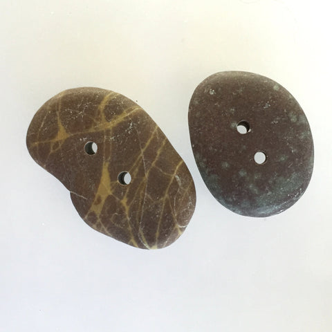 Beach Stone Buttons, Set of 2 Brown (#BCH-11)