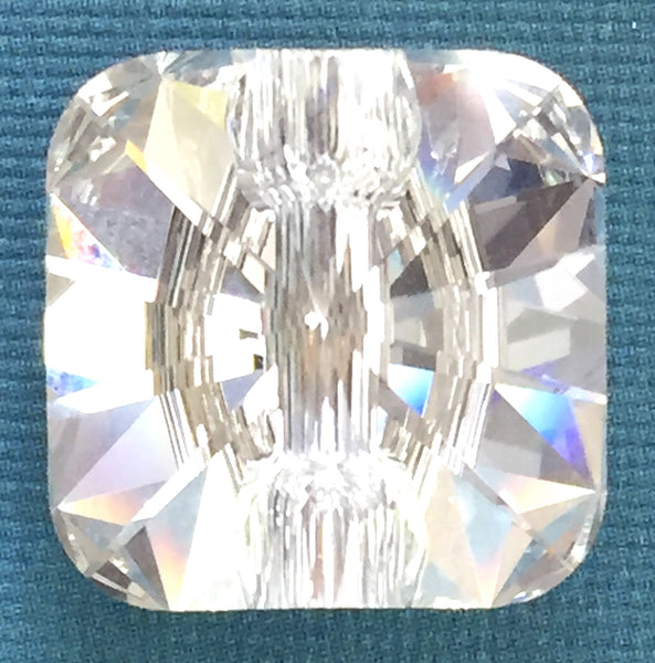 Diamond Color Swarovski Crystal Button, 14mm Square, 9/16""