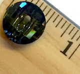 "Dark Olive Green Swarovski Crystal Button, ""Tabac"" Color, Potato Chip Shape 9/16"" 14mm"