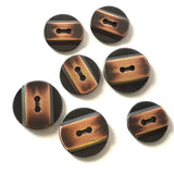 "Copper Stripe on Black Button, 5/8"" or 11/16"" round"