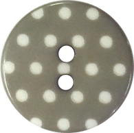 "Gray /White Polkadots or Plain Gray Button 9/16"" or 11/16"""