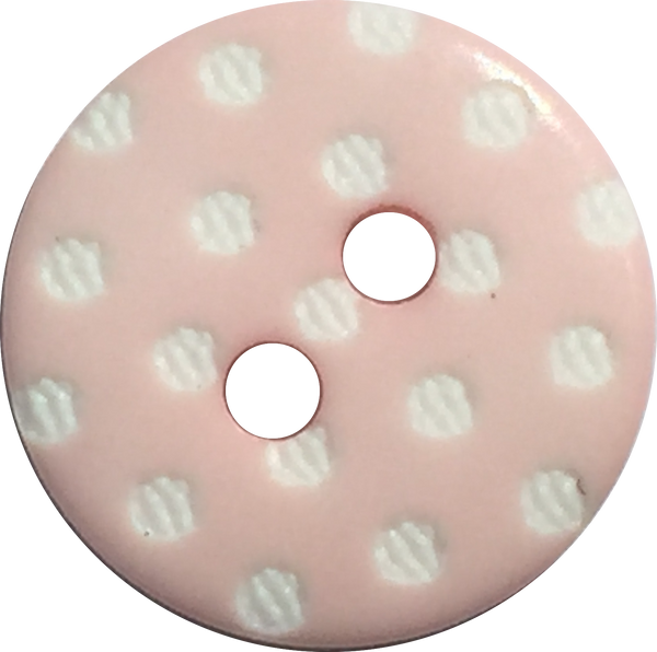 Light Pink with White Dots Round Plastic Button, 9/16""
