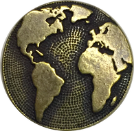 "Earth Button 5/8"" Antique Brass/Black"