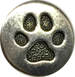 "Small Silver Paw Button 1/2"" TierraCast"