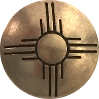 "Warm Brass Concho Button Sun Zia Symbol, 3/4"" #SW-75"