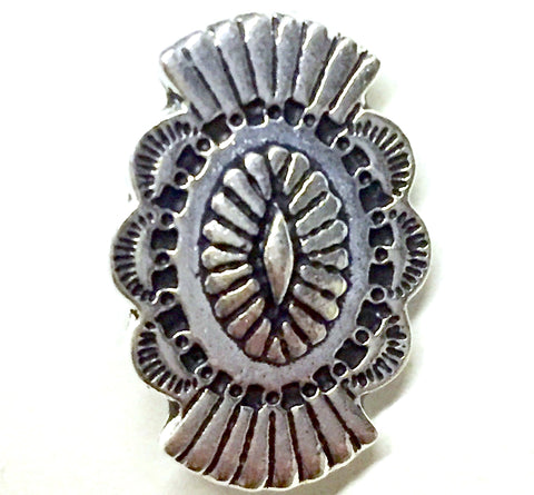 "Silver Western Long Tall Button, 3/4"" x 1/2"", TierraCast"