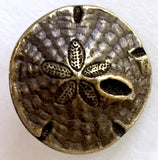 "Sand Dollar Button 5/8"" Antique Golden Brass"
