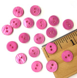 "3/8"" Bright Pink River Shell 2-hole Button, TEN for $8.00  #2251"