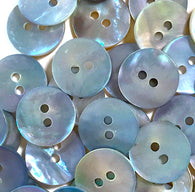 "1/2"" Light Blue Pearl Shell 2-hole Button, 6 for $5.10   #183"