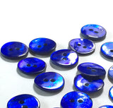 "1/2"" Cobalt Blue Pearl Shell 2-hole Button, 6 for $5.10   #113"