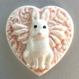 "Winged Bunny Pink/Pearly White Heart Button 1 - 1/4"" Artisan Made"