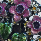 Magenta Daffodils Metal Art Button by Susan Clarke 1-1/8""