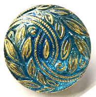 "Blue & Gold Laurel Leaves Czech Glass Button 18mm / 3/4"" # CZ 178"