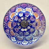 Blue Violet Luminous Mandala Czech Glass Button, 18mm 3/4""