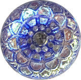 "TWO Blue Violet Luminous Mandala Czech Glass Buttons, 18mm 3/4"" for $7.00"