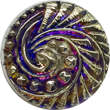 "Purple + Silver Swirl Volcano Czech Glass Button 18mm/ 3/4""  # CZ 258"