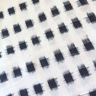 Cream/Black Ikat Blocks Cotton Woven, #CHL-123
