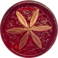 Red Ruby + Copper Star Flower Button, 11/16""