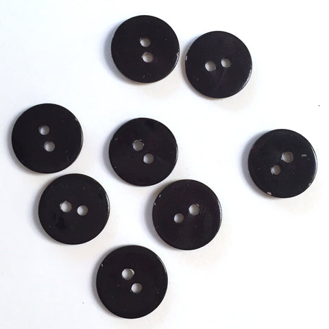 "1/2"" Black Pearl Shell 2-hole Button, 6 for $5.10   #112"