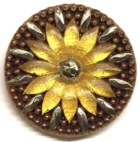 Brown and Gold Sunflower w. Silver Large Czech Glass Button 1-1/4""