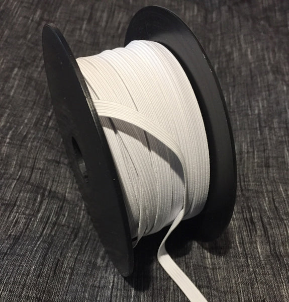 "3/8"" Braided Elastic w. Cotton, Off-White, from France, 55-yard roll.   Item # 207"