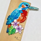 Blue Hummingbird Embroidered Patch/Applique Iron-On