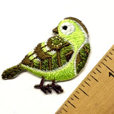 Green + Brown Bird Patch/Applique Iron-On. Embellishment