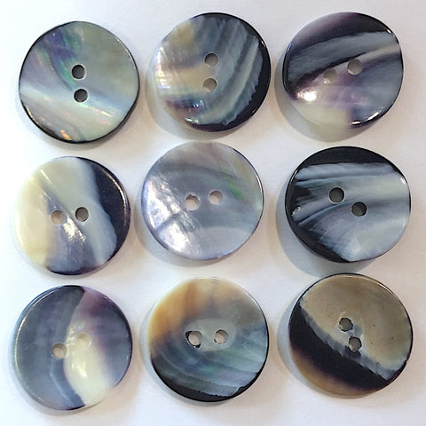 "Mermaid's Indigo 3/4"" Shell Buttons, Pack of 7   #2315"