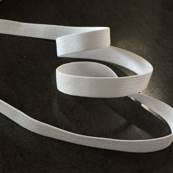 "5/16"" Plain White Elastic from Japan, Roll of 33 yards. Item #1038/8mm."