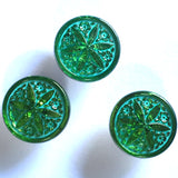 "Green Emerald Star Flower Czech Glass Button 3/4""  18mm #CZ 012"
