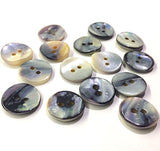 "Mermaid's Indigo 5/8"" Blue Mussel Shell Buttons, Pack of 9   #2392"